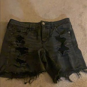 American Eagle Black Ripped Shorts